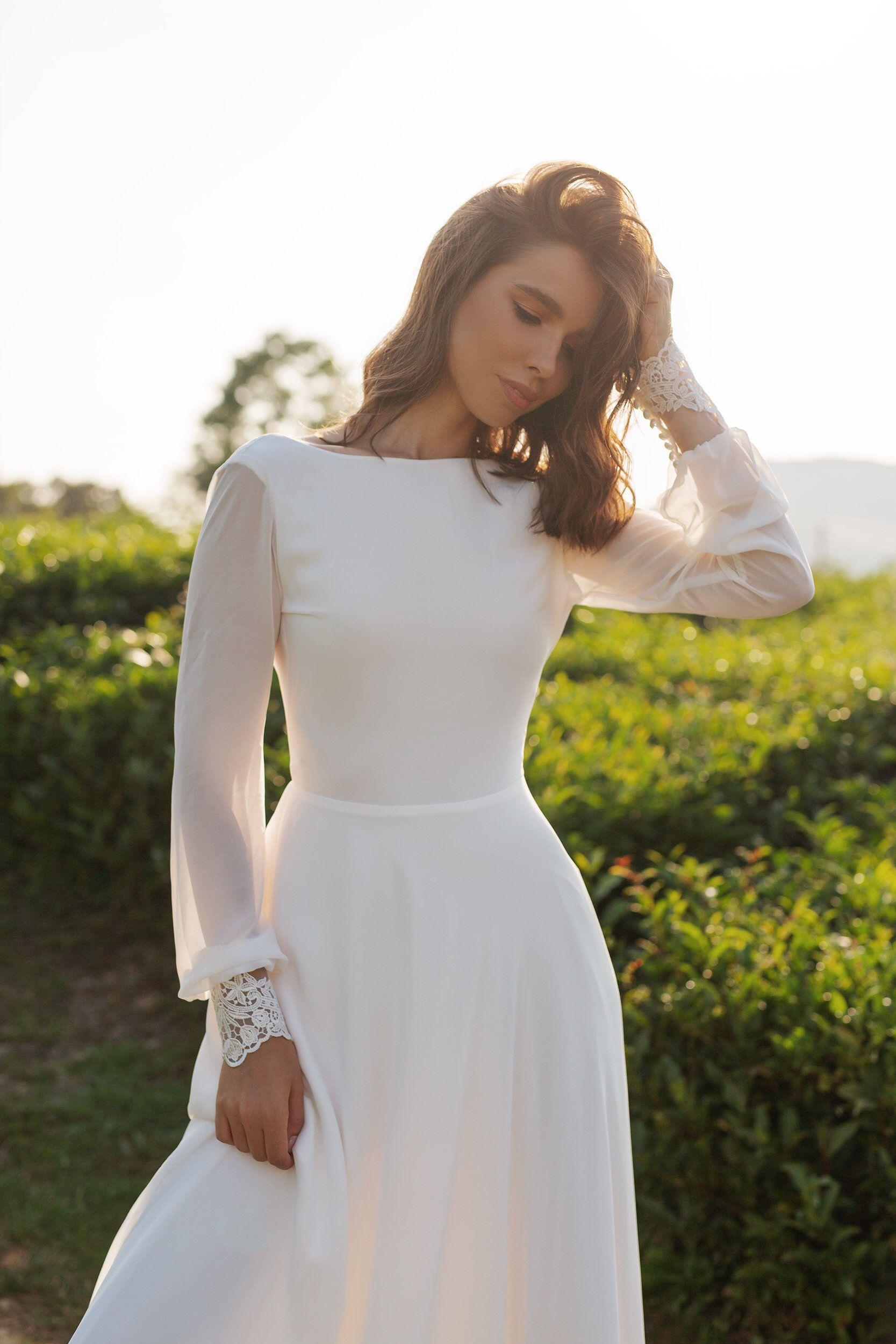 Chiffon Wedding Dress Anasteisha Long Sleeves Simple Wedding Dress With Open Back Chiffon Wedding Dress Wedding Dress Long Sleeve Modest Wedding Dresses [ 2500 x 1667 Pixel ]