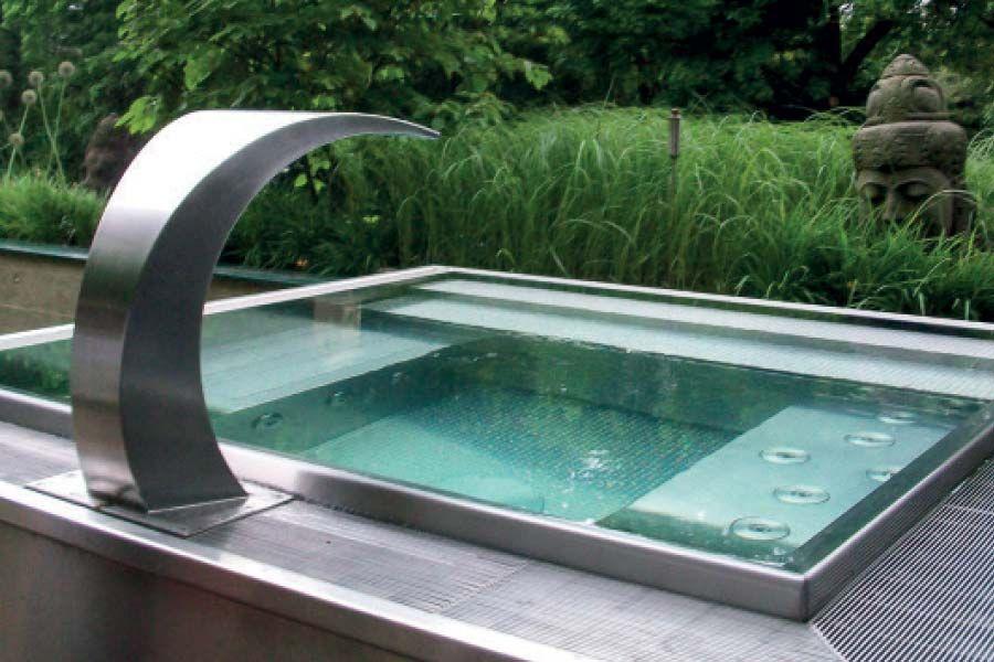 whirlpool aus edelstahl im garten pool pinterest garten terrasse und whirlpool garten. Black Bedroom Furniture Sets. Home Design Ideas