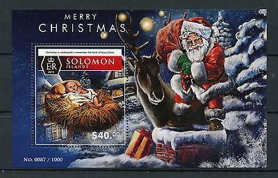 solomon islands 2015 mnh merry christmas 1v ss santa claus nativity - Santa Claus And Jesus 2