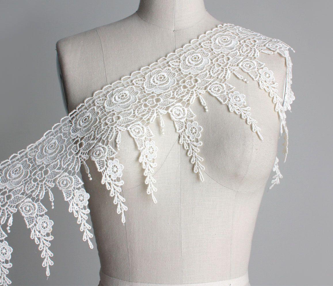 Embroidery Lace trim ribbon 1M Cream Ivory White wedding dress decoration