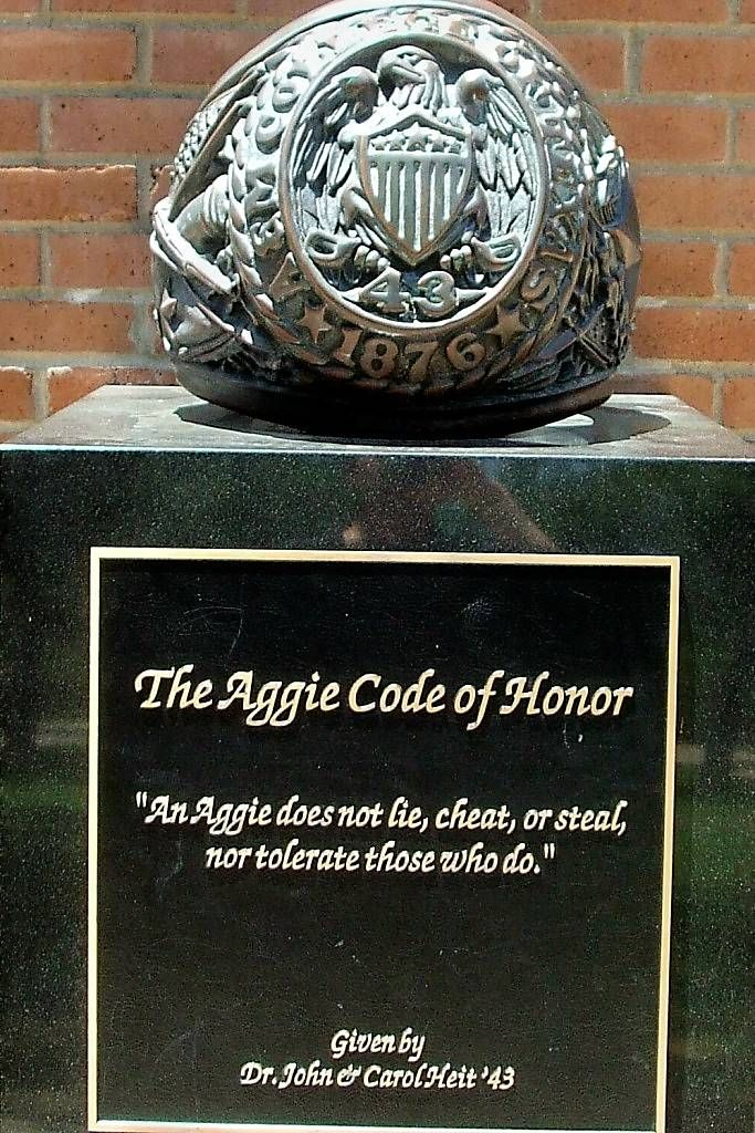 Texas A  M University Aggies  Statue Of Ring And Aggie Code Of  Texas A  M University Aggies  Statue Of Ring And Aggie Code Of Honor