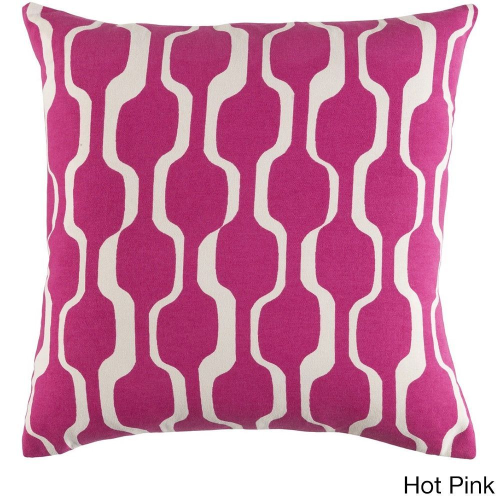 Surya Decorative 18-inch Down or Polyeste Filled Throw Pillow (Hot Pink - Polyester Filled), Size 18 x 18 (Cotton, Abstract)