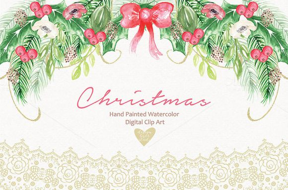 Watercolor christmas by designloverstudio on Creative Market - christmas card layout