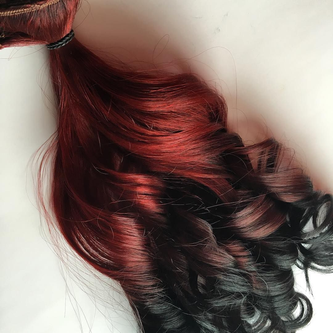 Burgundy Red To Black Ombr Clip In Human Hair Extensions