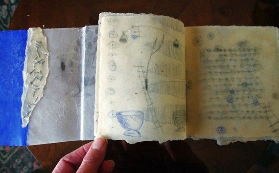 Transluscent Days - artist's book with beeswaxed pages  by Patti Roberts-Pizzuto / missouri bend studio | pencil, acrylic, ballpoint pen, handmade paper, beeswax, linen thread #mixed_media #drawings #artists_book
