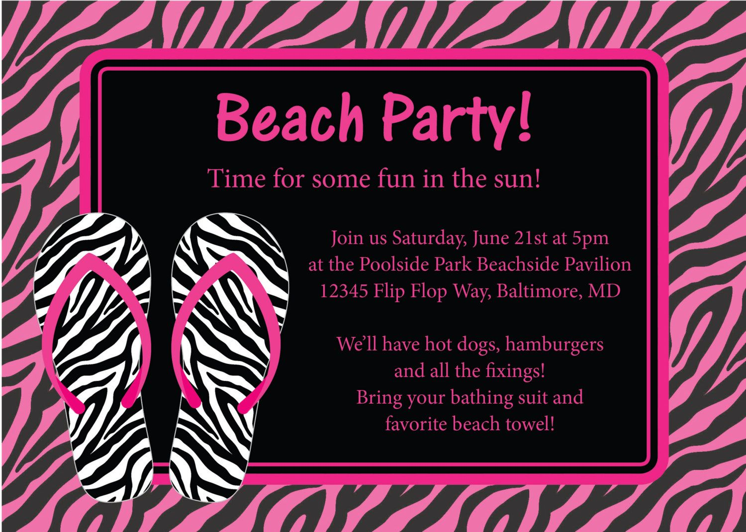 Beach Party Invitation Birthday Bachelorette by CowPrintDesigns ...