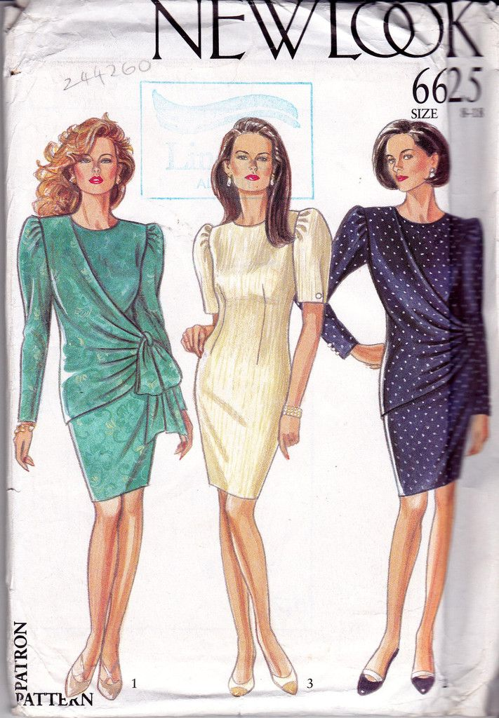 New Look 6625 Womens Side Draped Dress 90s Sewing Pattern Size 8 10 ...