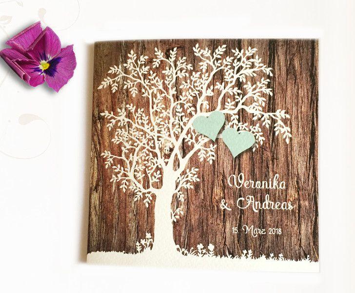 """Einladungskarten - Einladung zur Hochzeit Design """"Baum"""" - ein Designerstück von Kostbarkeiten-aus-Papier bei DaWanda"""