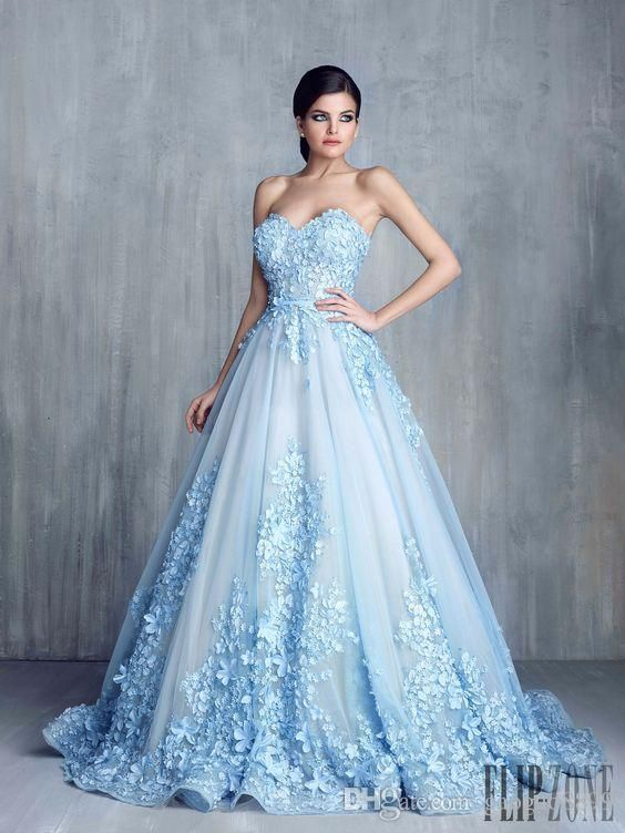 1ada9454696b Tony Chaay Sky Blue 3d Floral Formal Prom Dresses 2017 Modest Cinderella  Sweetheart Handmade Flower Arabic Occasion Evening Party Gowns Prom Dresses  Lace ...