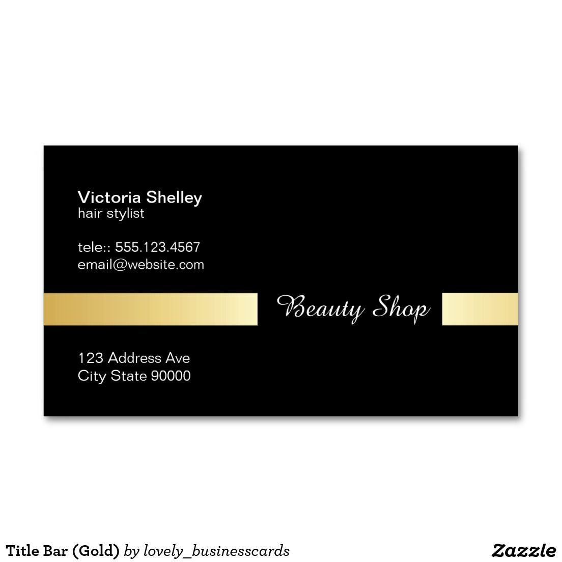 Title Bar (Gold) Business Card | Pinterest | Business and Support ...