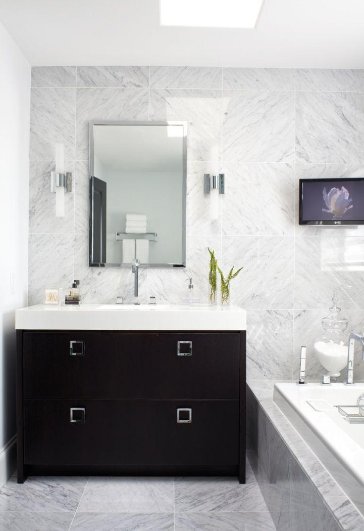 Marble Tile Wall Floor Ebony Vanity With Square Pulls Quartz Countertop Elegant Bathroom White Marble