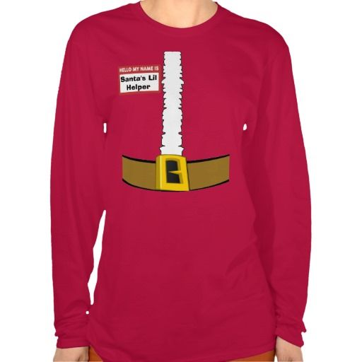 Santa's Lil Helper Name Tag Santa Suit Belly Top Customize Me! http://www.zazzle.com/name_tag_santas_lil_helper_suit_customize_me_tshirt-235515134902741875?rf=238020180027550641