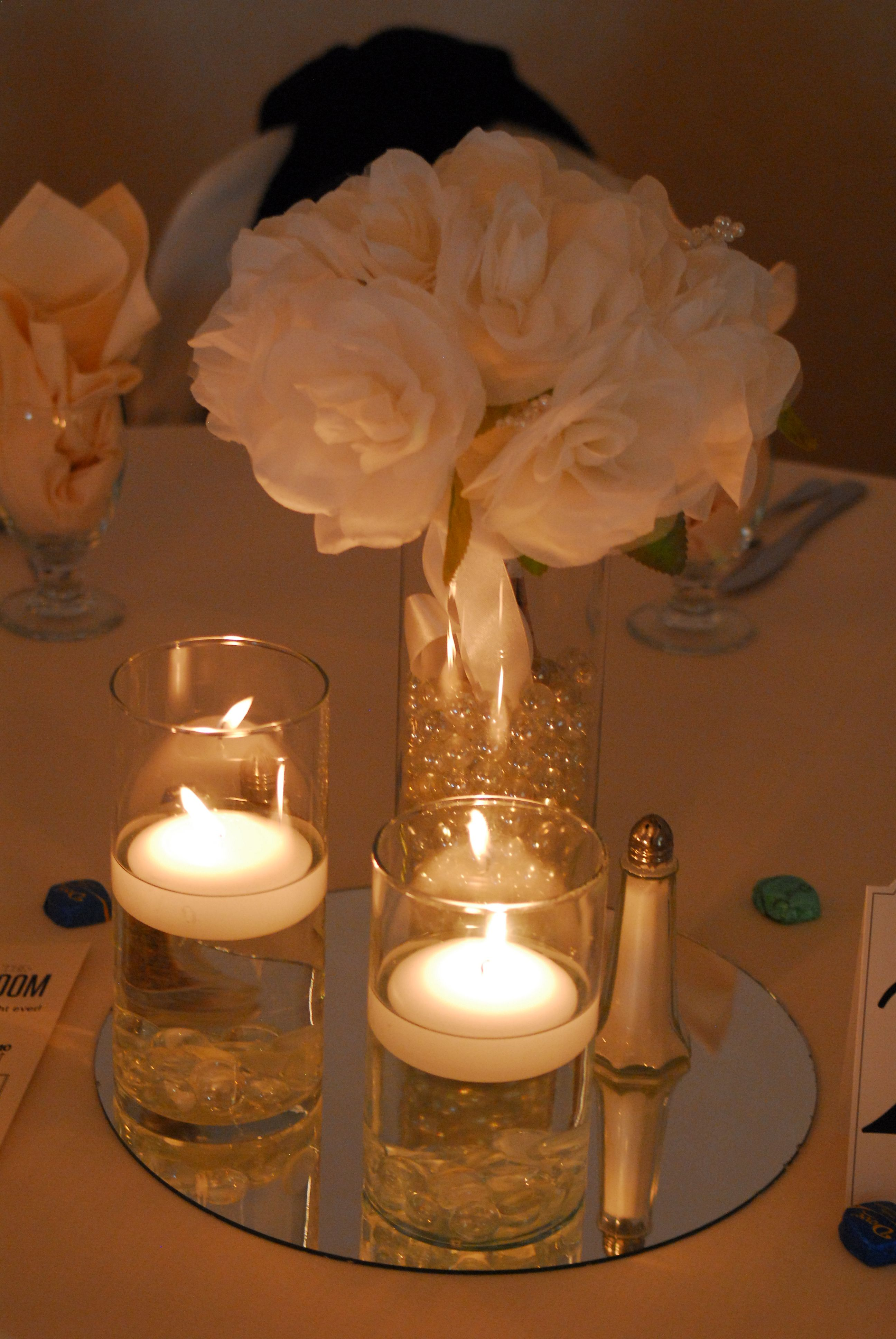 Floating Candle And Flower Centerpiece