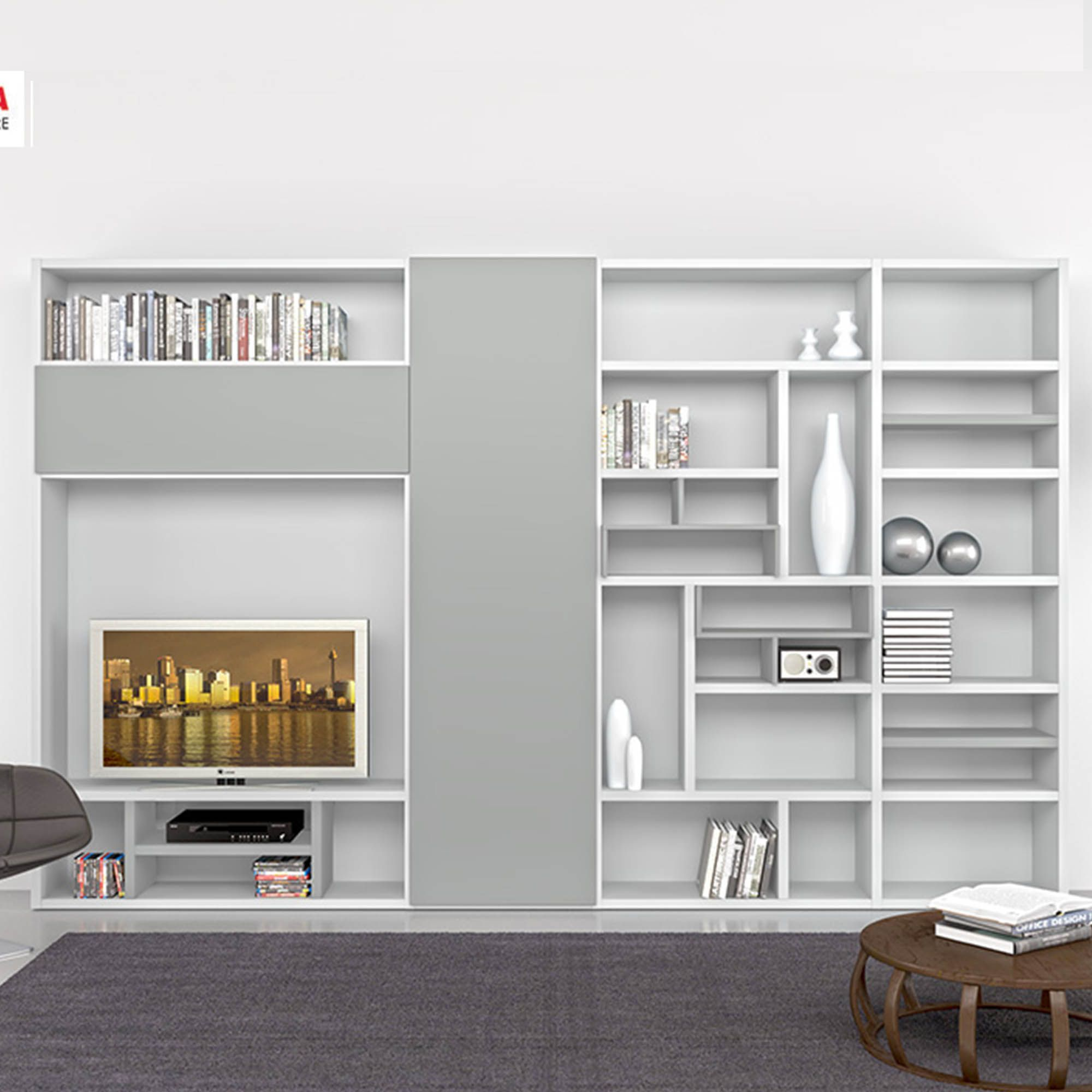 Perfect Modern Italian TV Unit/Library Grigio By Mobilstella L 333.2   H 218.1 At My