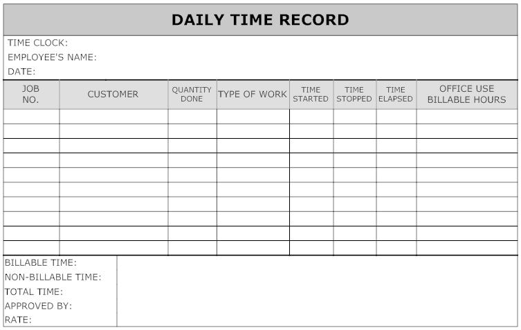 Example image daily time record work pinterest for Daily work record template