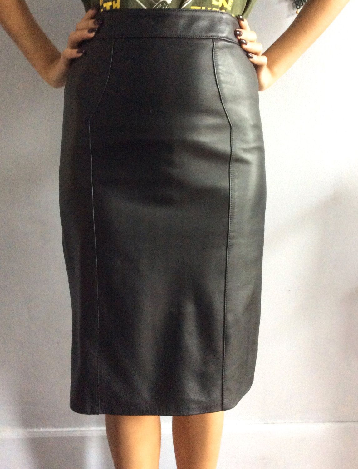 ee058a3cc1 90s lambskin leather pencil skirt vintage black leather pencil skirt made  in France 1990s tight leather skirt vtg plongé leather skirt by  VintagestarParis ...