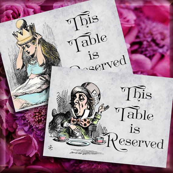 Alice In Wonderland Reserved Table Number Signs Printable Instant - Reserved place card template