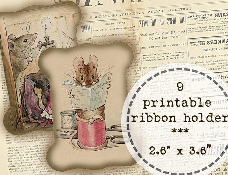 9 Ribbon Lace Holder Peter Rabbit Beatrix Potter Digital Download