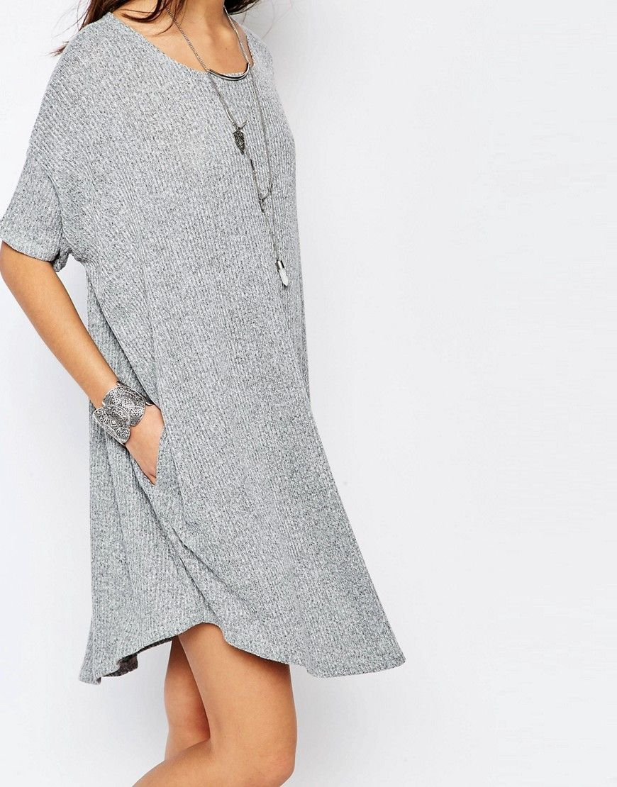 Image 3 of Stitch & Pieces Knitted Slouchy T-Shirt Dress in Rib