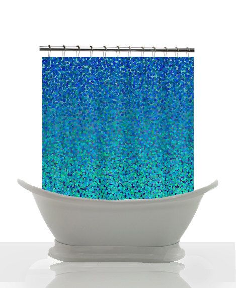 blue shower curtain - abstract, impressionist fabric shower
