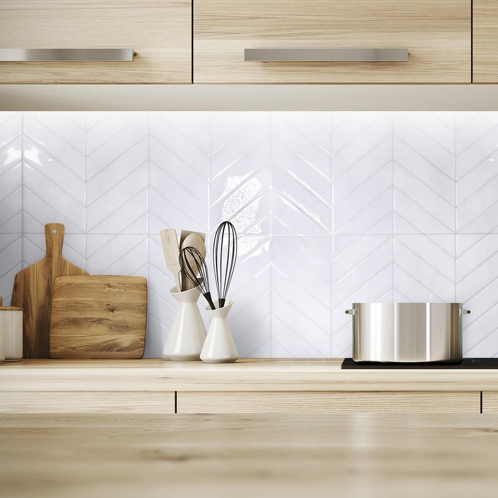 Smart Tiles Blok Chevron 22 56 In W X 11 58 In H White Peel And Stick Self Adhesive Mosaic Wall Tile Backsplash 2 Pack Sm1179g 02 Qg The Home Depot Kitchen Backsplash Designs White Tile Backsplash