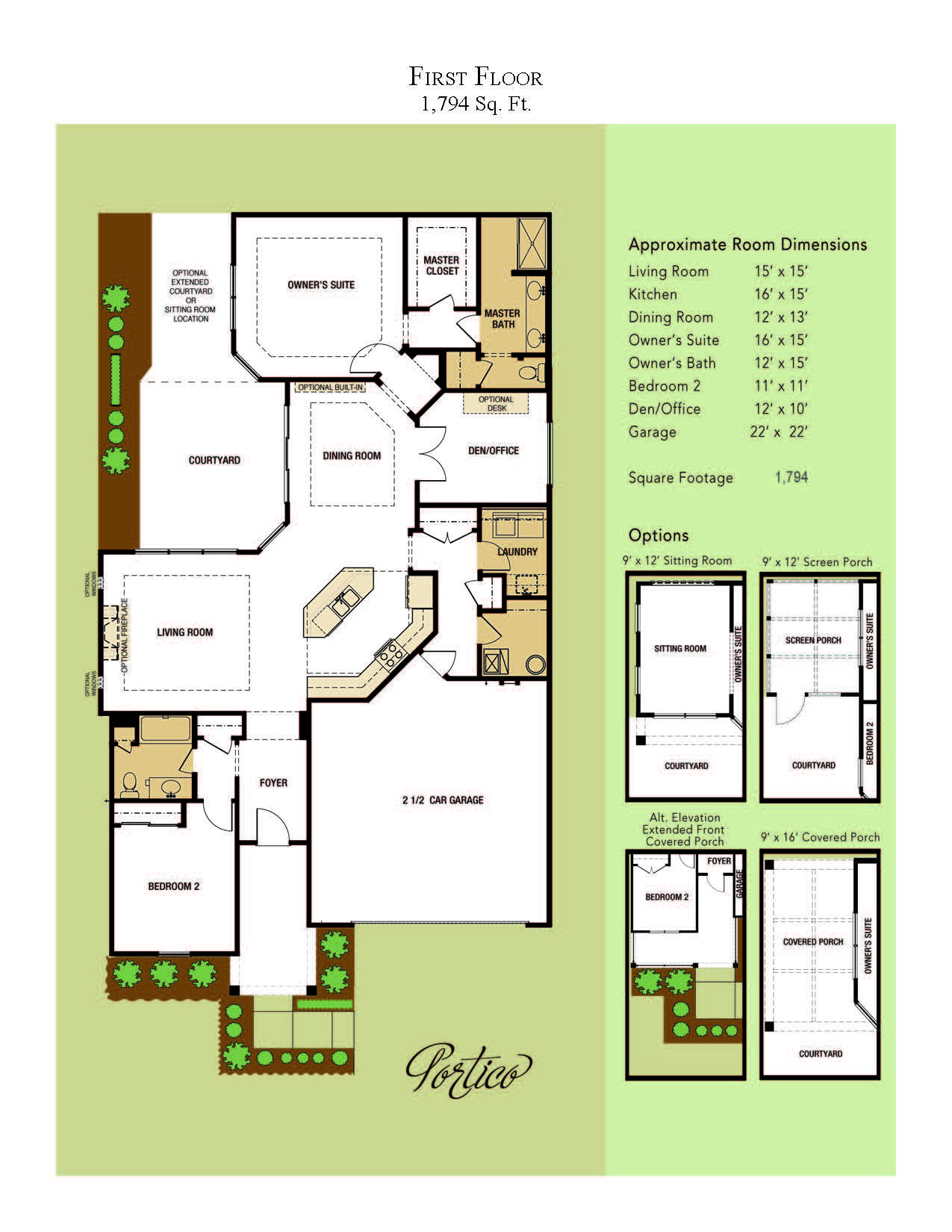 The Portico First Floor Plan View House Plans Building A Porch Porch Design