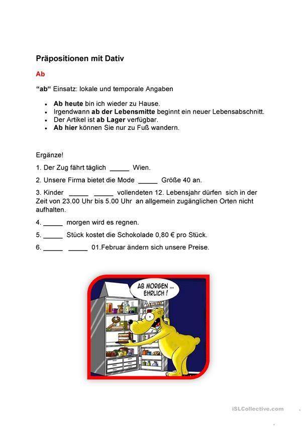 Präposition | Alman | Pinterest | Printable worksheets and Worksheets