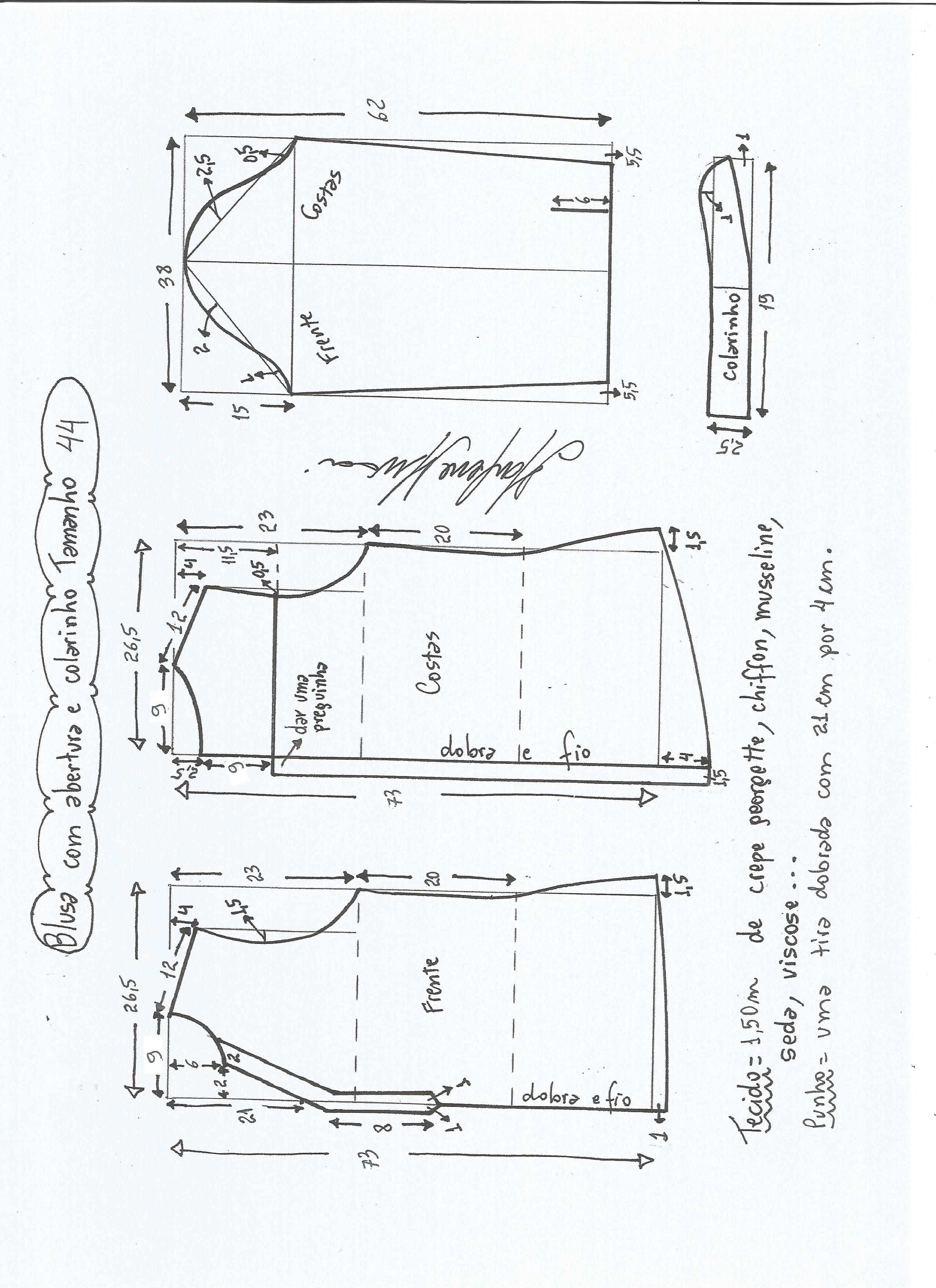 Patrón blusa con abertura | Aberturas, Patrones y Blusas