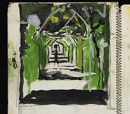 a notebook watercolour sketch of a wooded pathway   Graham Sutherland