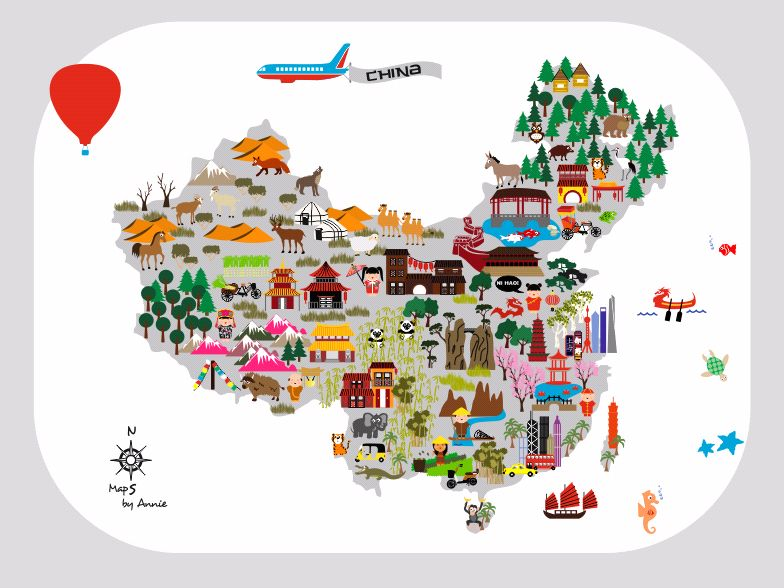 China Map for kids. This map will be an eyecatcher on a kidsroom