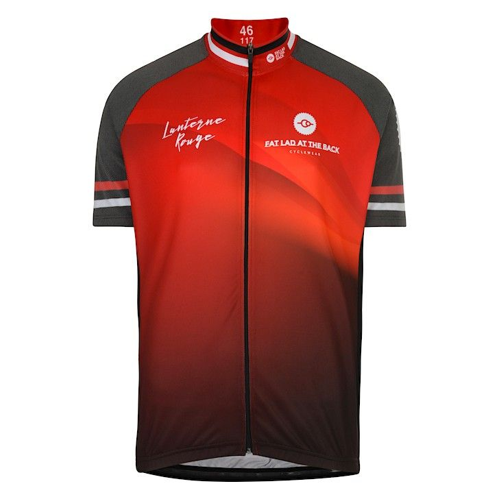 Men's Red Lanterne Rouge Reflective Short Sleeve Cycling Jersey Fat Lad At The Back
