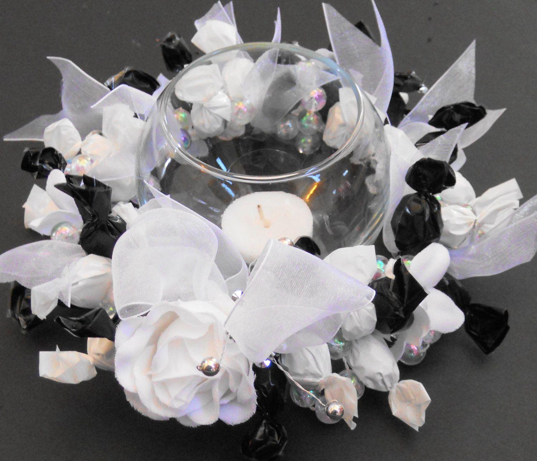 Candy Centerpiece Wreath Bridal Shower Black White Wedding ...