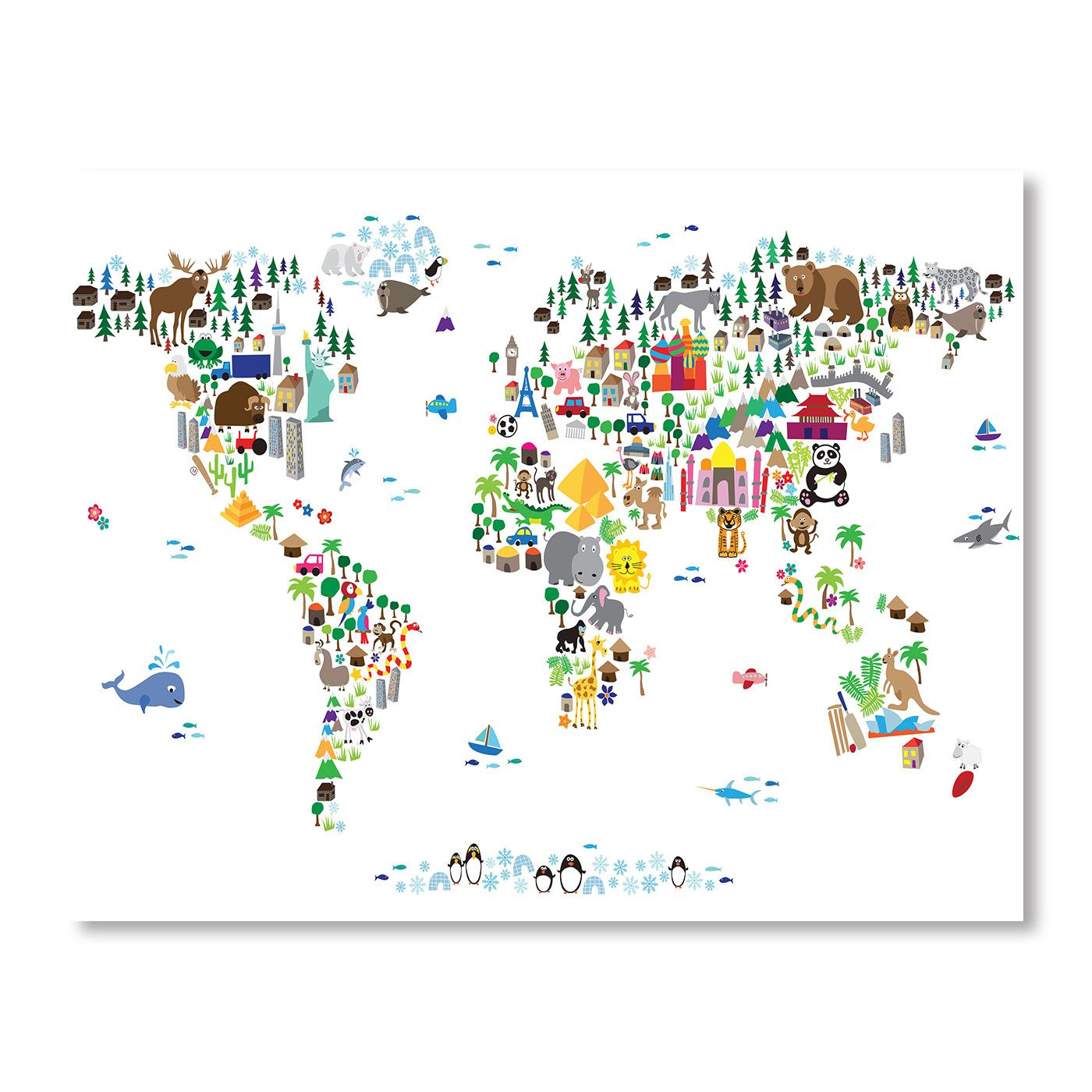 World Animal Map Wall Mural