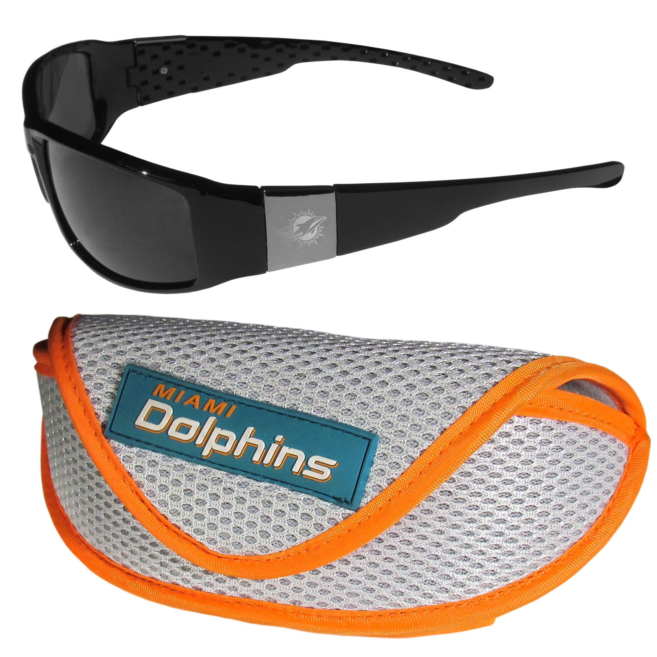6beadae6c1db Our sleek and stylish Miami Dolphins chrome wrap sunglasses and our sporty  mesh case. The sunglasses feature etched team logos on each arm and 100%  UVA/UVB ...
