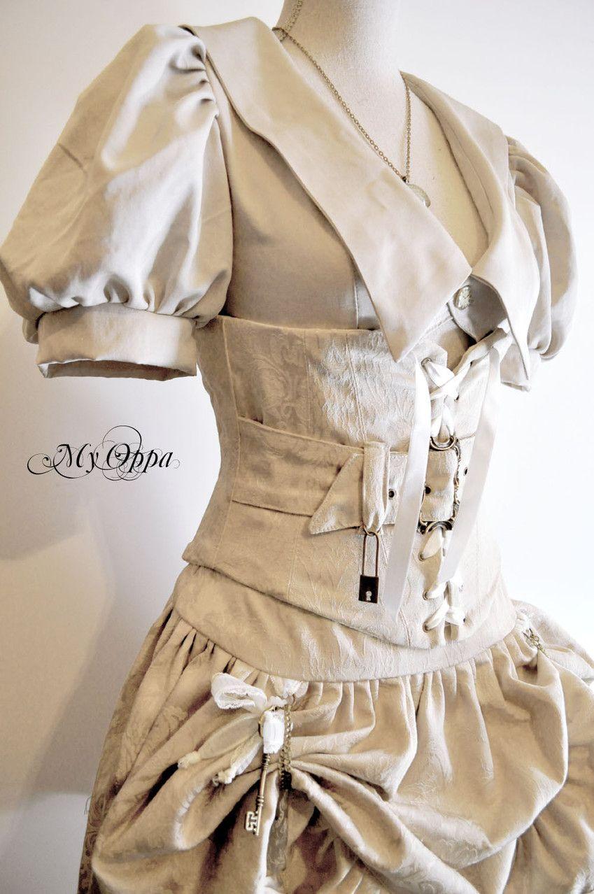 DieselSteamGypsy - my-oppa: My Oppa Dress steampunk white
