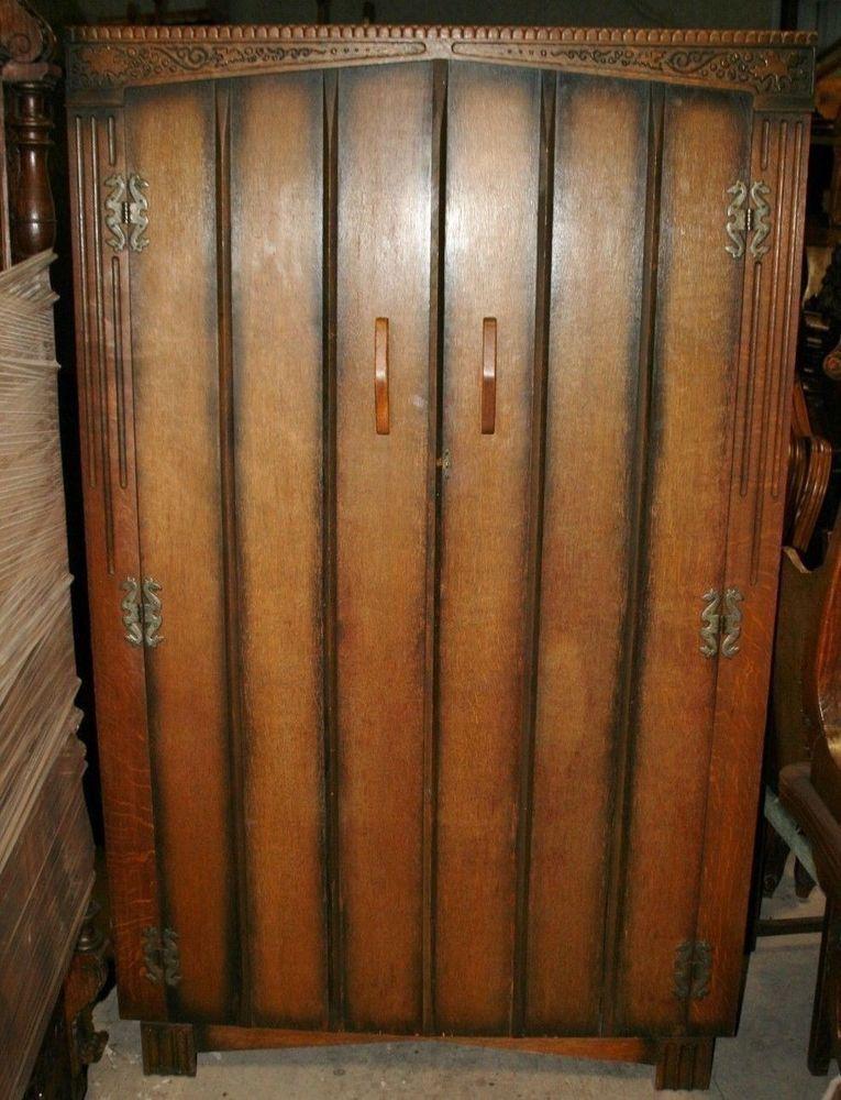 Exquisite English Antique Mission Arts U0026 Crafts Oak Wardrobe / Armoire  Circa 191 In Antiques,