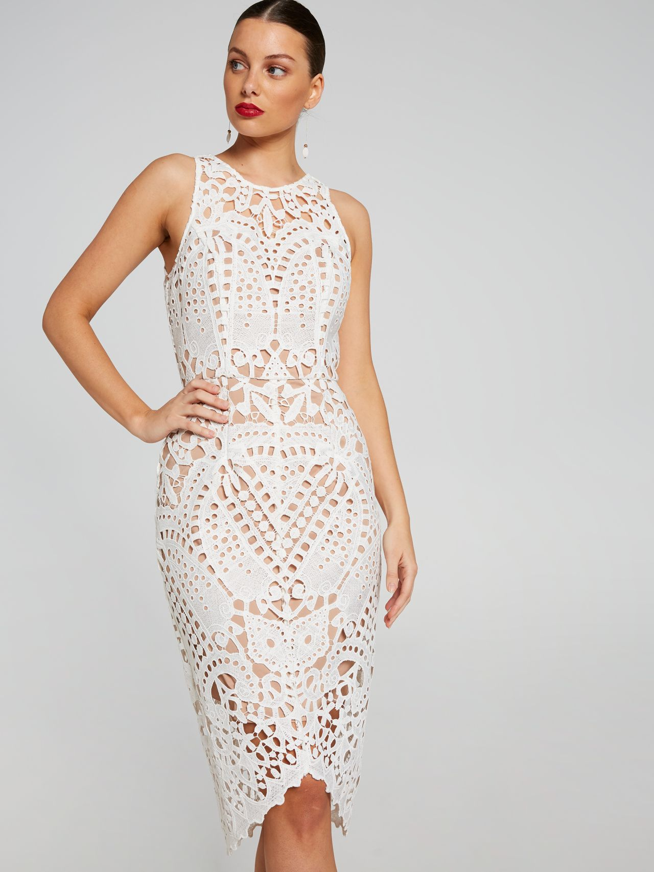 e5e90d6a9e6 Elle Sleeveless Lace Dress Ivory - Portmans Online Online