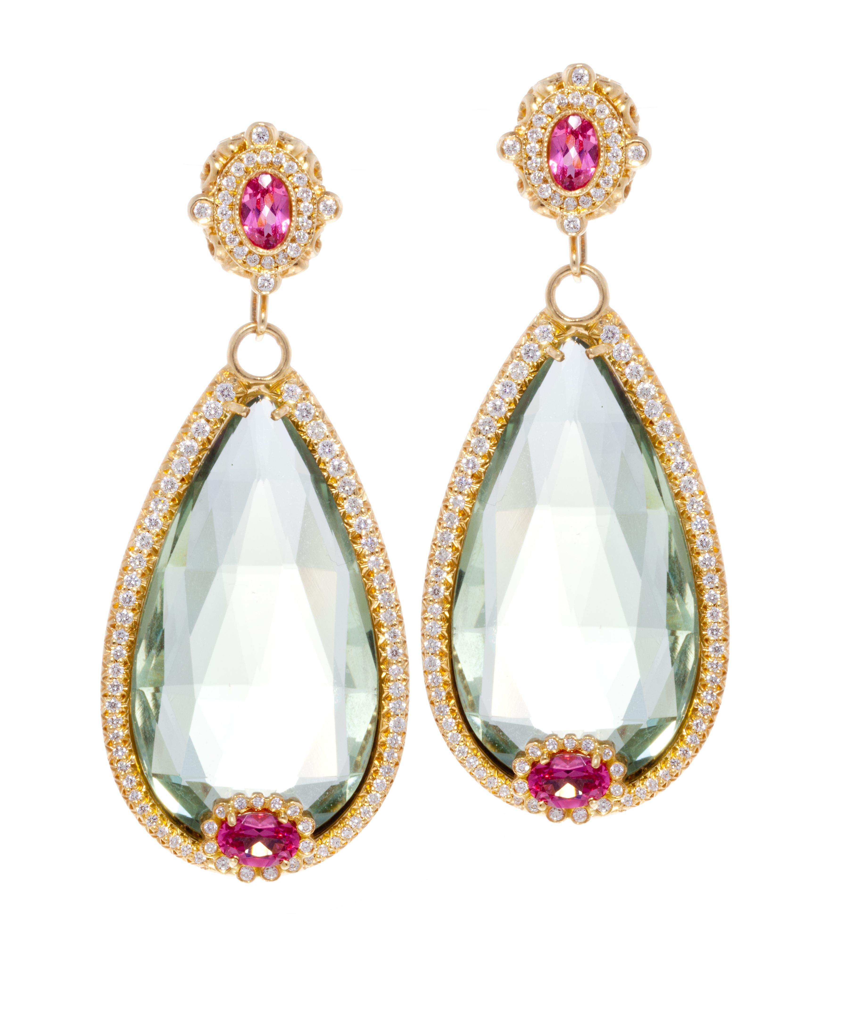 18k Gold And Diamond Green Amethyst With Pink Spinel Earrings By Erica  Courtney®