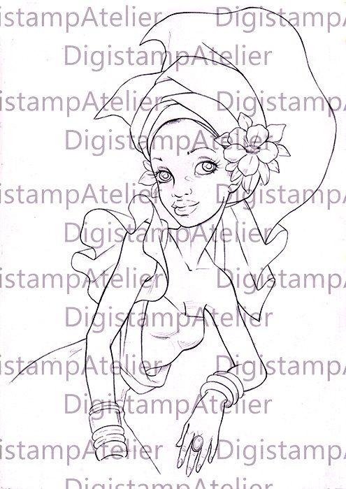 Nubian Queen Digistamp Digital Coloring Drawing Pinterest