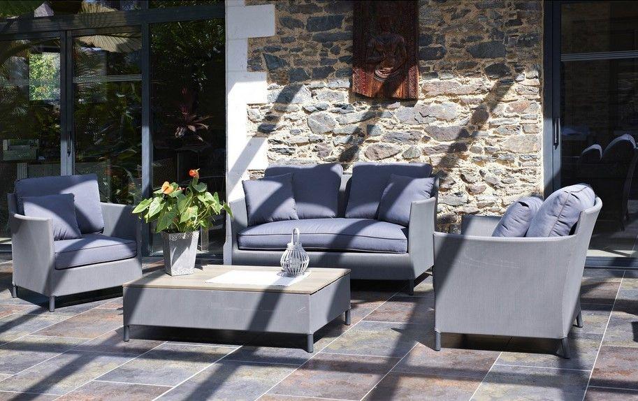 Salon bas de jardin Riade textilène gris 4 personnes prix Leroy ...