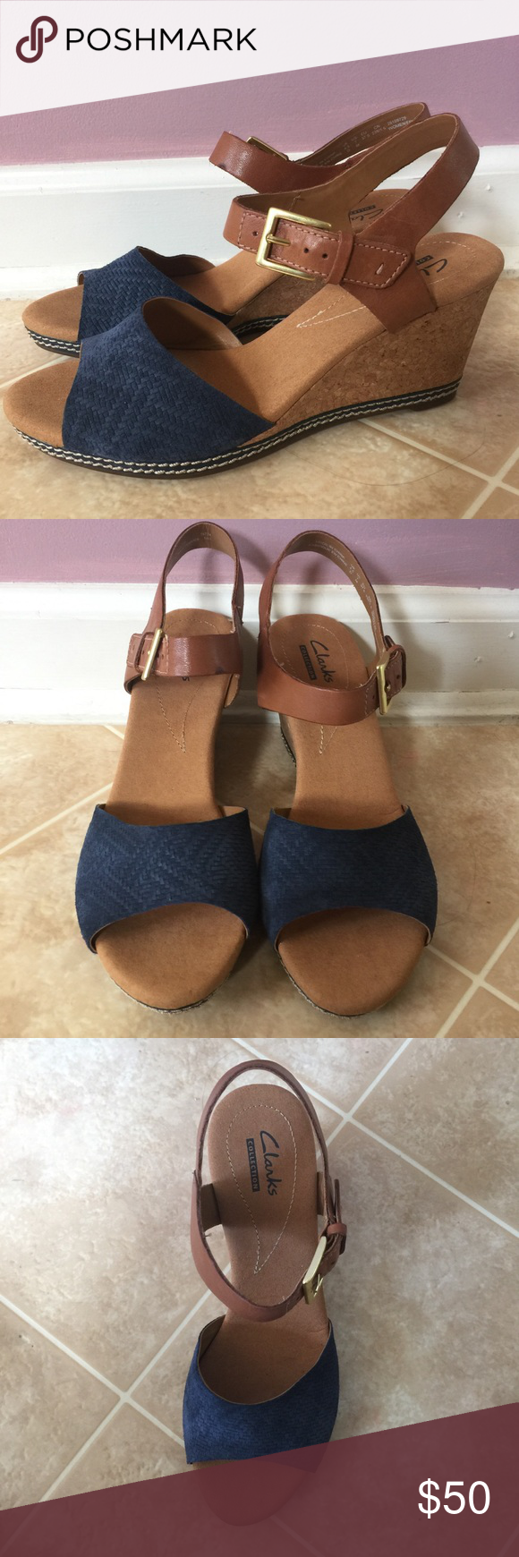 1eb6353d5ac Clarks collection Helio Jet wedge NWOT Clarks collection. Helio Jet wedge.  Brown straps w