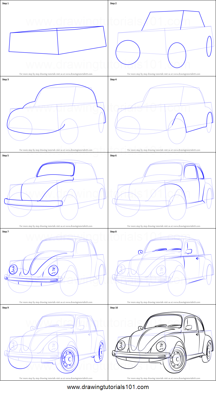 How To Draw Vintage Volkswagen Beetle Printable Drawing Sheet By Drawingtutorials101 Com In 2020 Car Drawing Pencil Volkswagen Beetle Vintage Vw Art