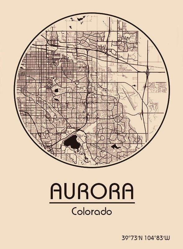 Karte Map Aurora Colorado Vereinigte Staaten von Amerika