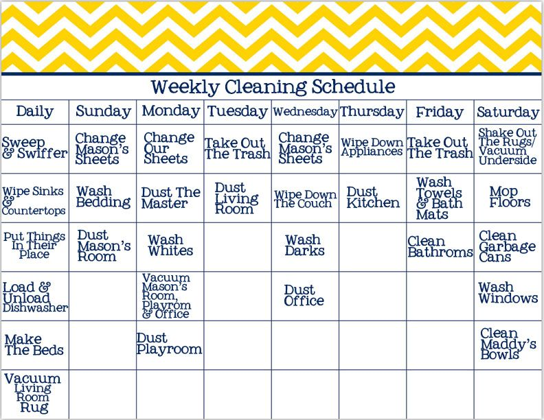 Weekly Cleaning Schedule  Print Me    Cleaning