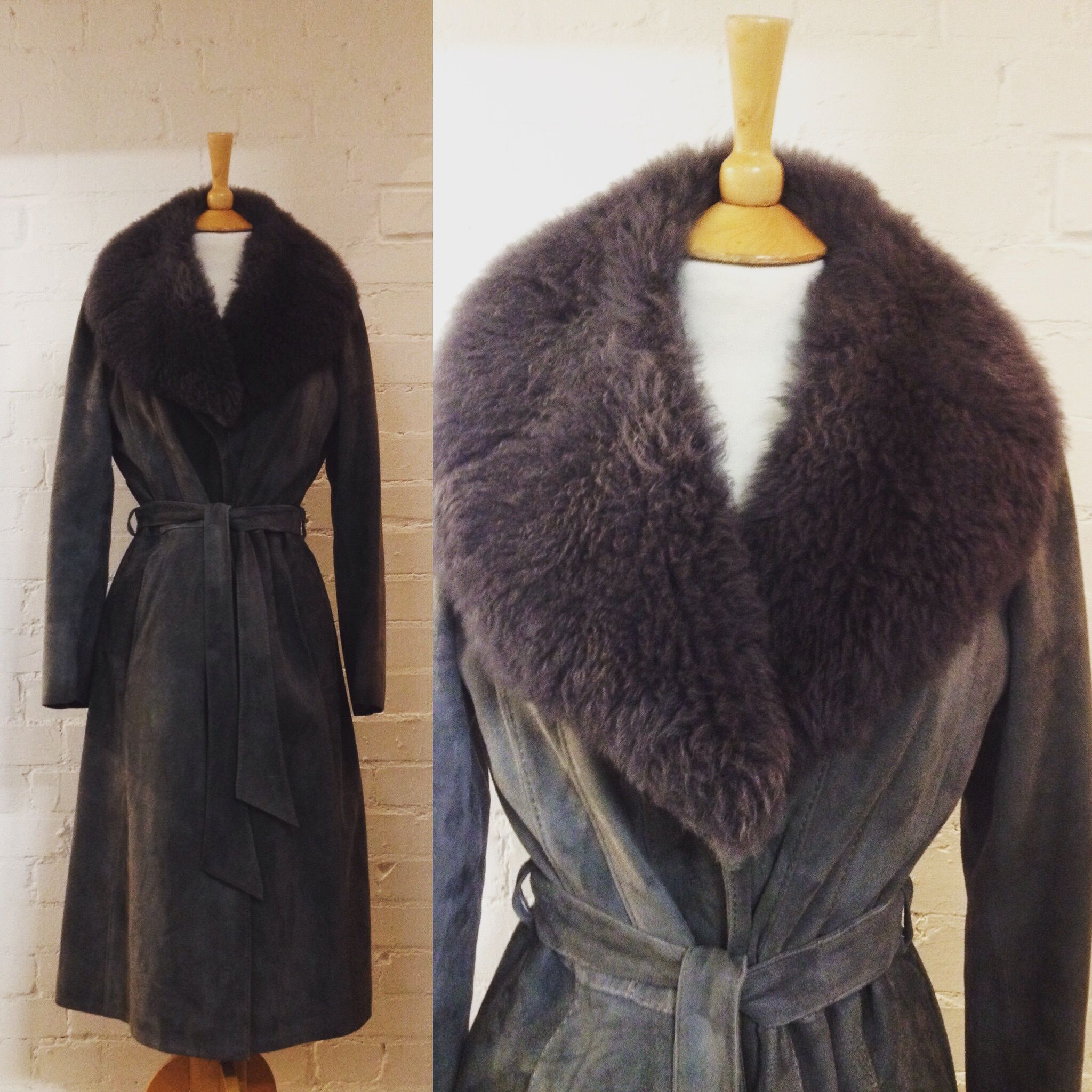 70s sheepskin coat big fake fur collar #vintagesheepkin ...