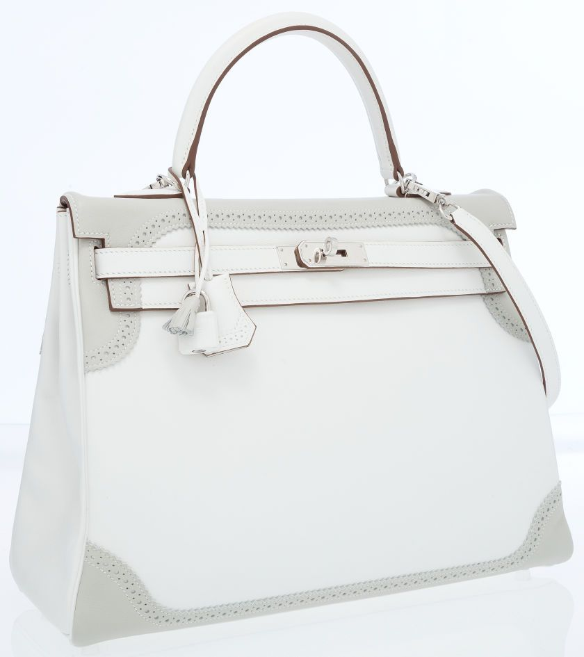 b1ec7f03f1f  Hermes  LimitedEdition 35cm White   Gris Perle Swift Leather Retourne  Ghillies Kelly Bag with