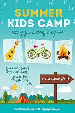 Summer Kids Camp Free Psd Flyer Template  Summer Camp Flyer