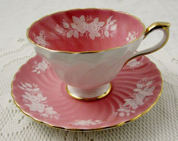 RESERVED for S* Pink Aynsley Tea Cup and Saucer with White Roses and Swirled…