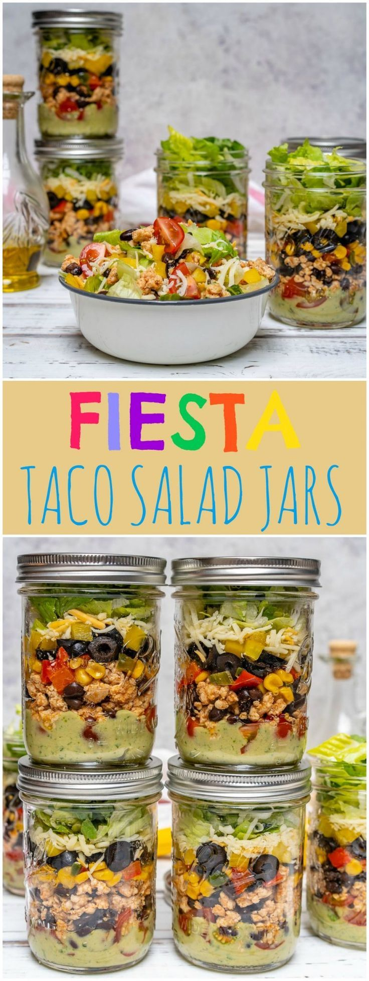 Fiesta Taco Salad-in-a-jar with Creamy Avocado + Cilantro Dressing #tacosalad