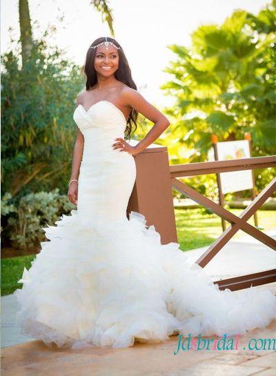H1577 Glamour Curvy Ruffled Strapless Mermaid Wedding Dress Beach Wedding Dresses Backless Sweetheart Bridal Gown Online Wedding Dress